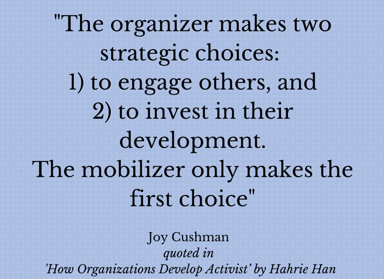 Organising to build power – reflections on Hahrie Han skillshare