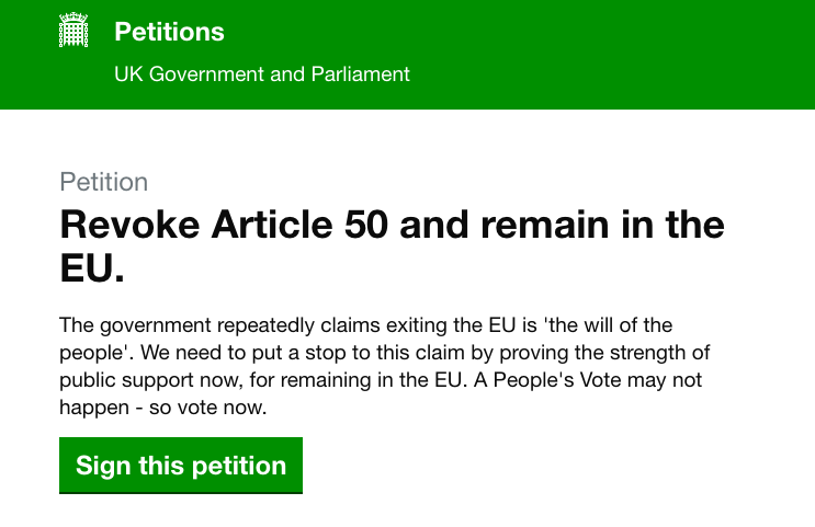 Is #RevokeArticle50 the biggest petition in UK history?